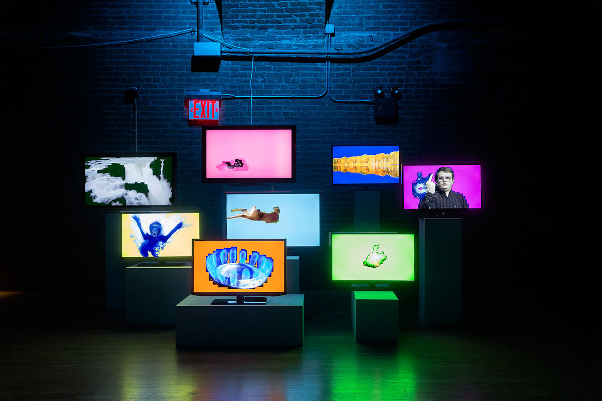 Installation view of works by Lorna Mills at Moving Image, 2016. Photo by Etienne Frossard, courtesy of Moving Image.