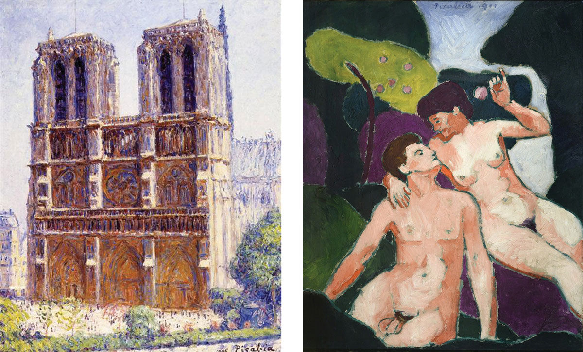 Left: Francis Picabia,Notre Dame, The Effect Of Sunlight, 1906. © Francis Picabia. Right: Francis Picabia,Adam et Ève (Adam and Eve), 1911. Image courtesy of MoMA, New York.
