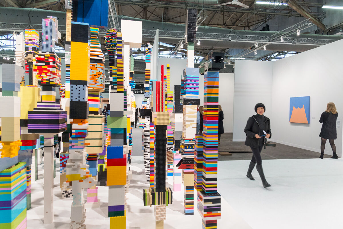 Installation view of Douglas Coupland, Towers, 2014, at The Armory Show, 2017. Photo by Adam Reich for Artsy.