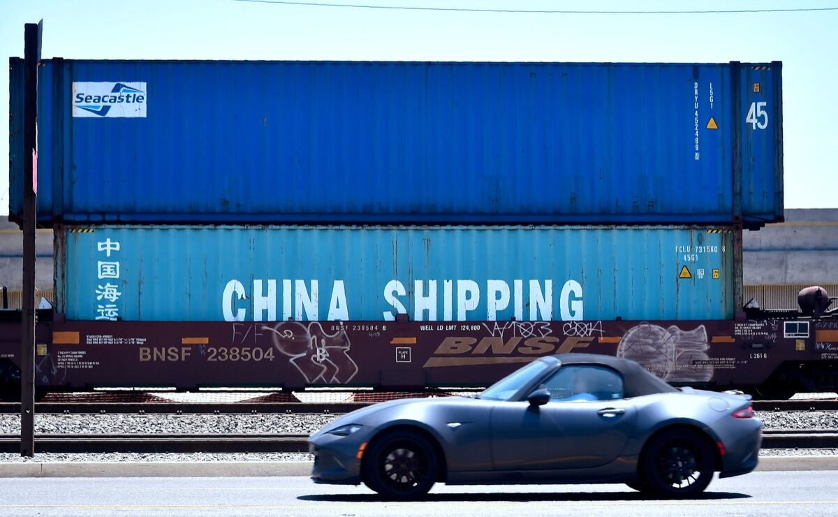 Shipping containers from China Shipping, a shipping conglomerate under direct administration of China's State Council, at the Port of Long Beach, 2018. Photo by Frederic J. Brown/AFP/Getty Images.