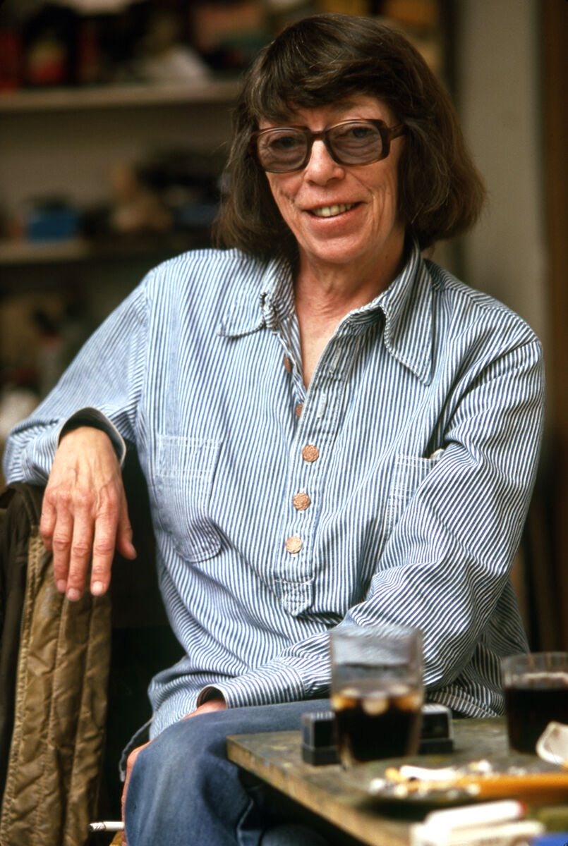 Portrait of Joan Mitchell in her Vétheuil studio, 1983. Photo by Robert Freson. Courtesy of Joan Mitchell Foundation Archives.