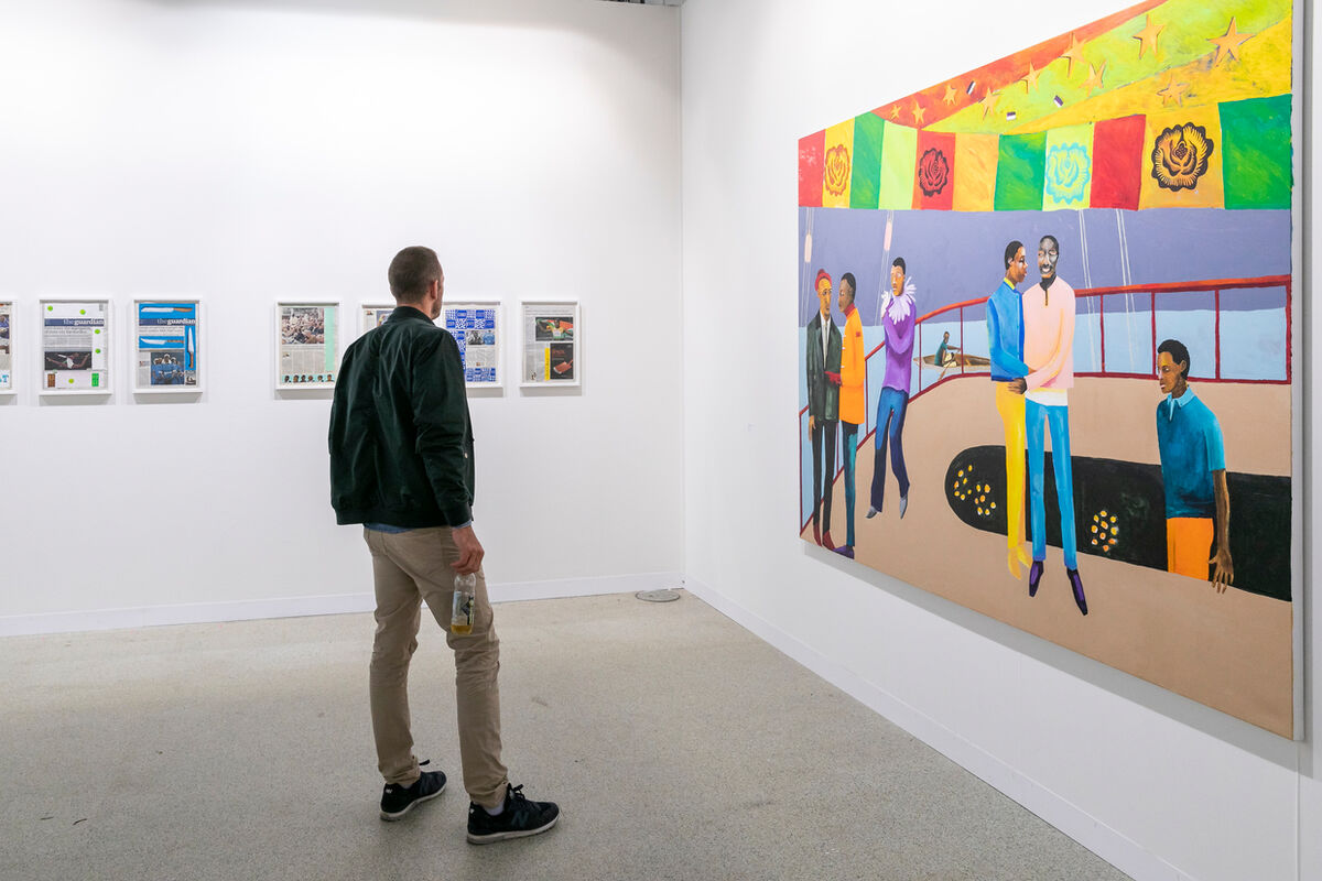 Installation view of work by Lubaina Himid at Hollybush Gardens' booth at Art Basel in Basel, 2018. Courtesy of Art Basel.