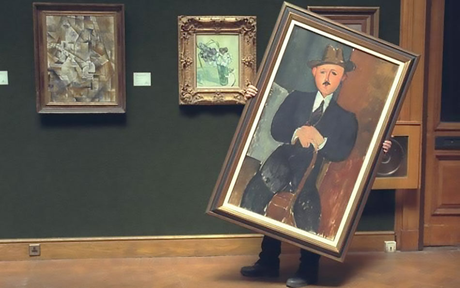 Modigliani's Seated Man With a Cane (1918). Photo by Brian Smith.