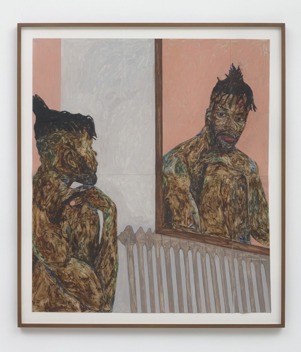 Amoako Boafo, Reflection 1, 2018. Courtesy of the artist and     Roberts Projects, Los Angeles, CA.