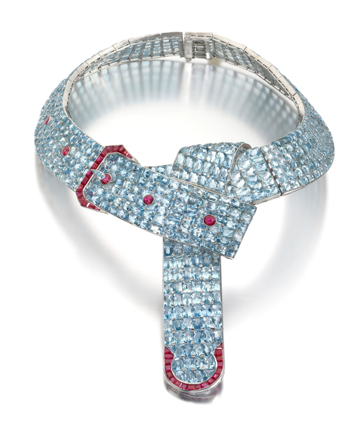 The ColePorterNecklace: An Aquamarine and Ruby Belt with a Buckle Necklace Designed by Fulco, Duke of Verdura, for Paul Flato, New York, circa 1935. Image courtesy ofSiegelson.