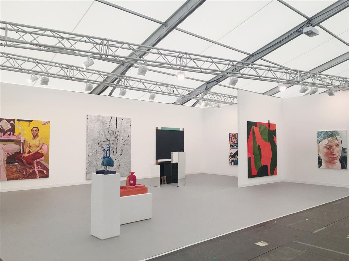 Installation view of Casey Kaplan's booth at Frieze London, 2018. Courtesy of the gallery.