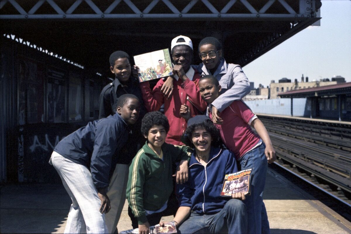 Henry Chalfant, Smily, Ebony Dukes, BS110, Pod, and Others, Intervale Station on the 2s and 5s, The Bronx , 1979. © 2018 Henry Chalfant / Artists Rights Society (ARS), New York. Courtesy Eric Firestone Gallery, New York.