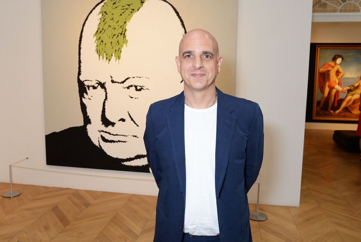 Steve Lazarides at an exhibition of works by Banksy at Lazinc in 2018. Photo by David M. Benett/Dave Benett/Getty Images for KTW.