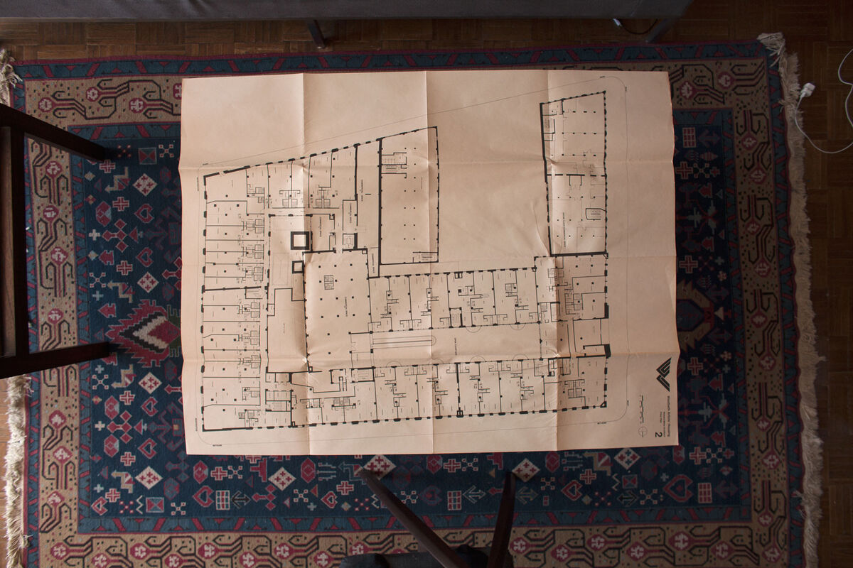 Architect Richard Meier's blueprint of the second floor on the coffee table in Westbeth Artists Residents Council president Roger Braimon's apartment in the complex. Photo by Frankie Alduino.