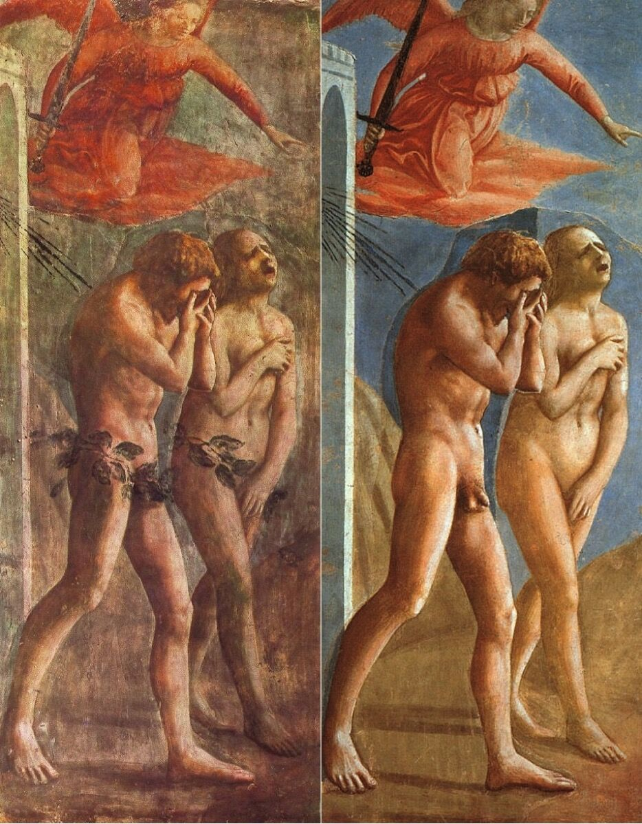Masaccio, The Expulsion of Adam and Eve from the Brancacci Chapel. Fresco before and after its restoration. Photo via Wikimedia Commons.