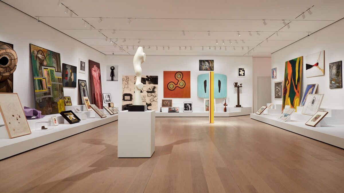 "Installation view of ""Artist's Choice: Amy Sillman—The Shape of Shape,""  at The Museum of Modern Art, 2019–2020. Photo by Heidi Bohnenkamp. © 2019 The Museum of Modern Art."