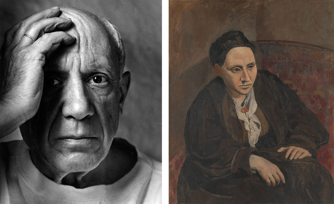 Left: Portrait of Pablo Picasso, Vallauris, France (1954) by Arnold Newman.Image courtesy of Howard Greenberg Gallery; Right: Portrait of Gertrude Stein (1905–6) by Pablo Picasso. Courtesy of The Metropolitan Museum of Art, Bequest of Gertrude Stein, 1946. © 2016 Estate of Pablo Picasso / Artists Rights Society (ARS), New York.