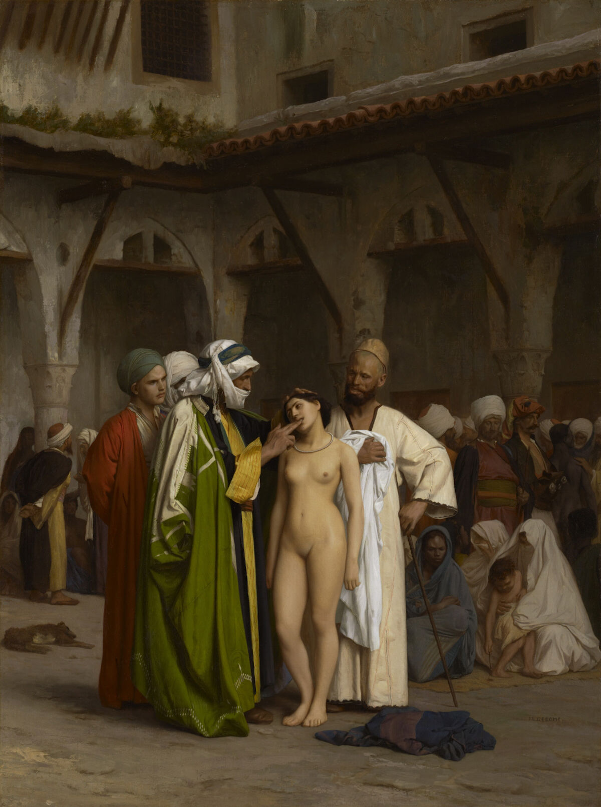 Jean-Léon Gérôme, Slave Market, 1866, Clark Art Institute. Via Wikimedia Commons.