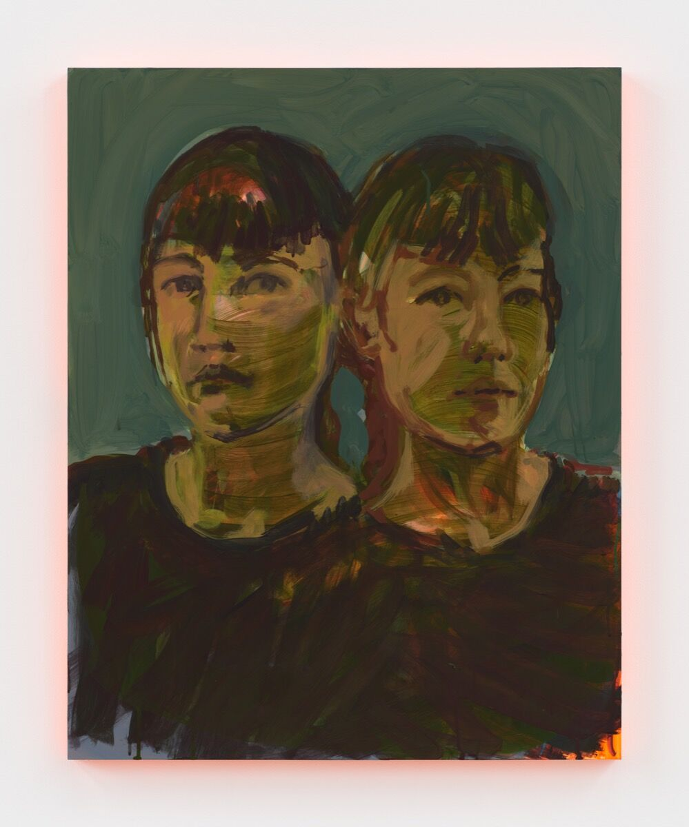 Claire Tabouret, Self-portrait (double), 2020. Courtesy of the artist and Jordan Schnitzer Museum of Art.