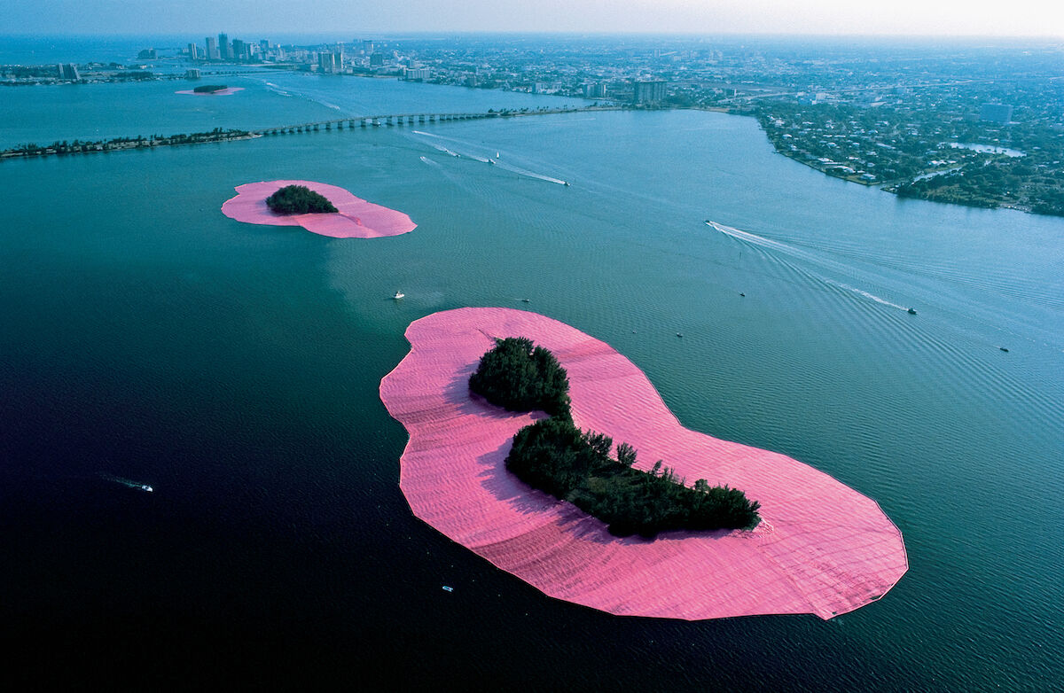 Christo and Jeanne-Claude, Surrounded Islands, Biscayne Bay, Greater Miami, Florida, 1980–83. Photo by Wolfgang Volz. Courtesy and © the artists.