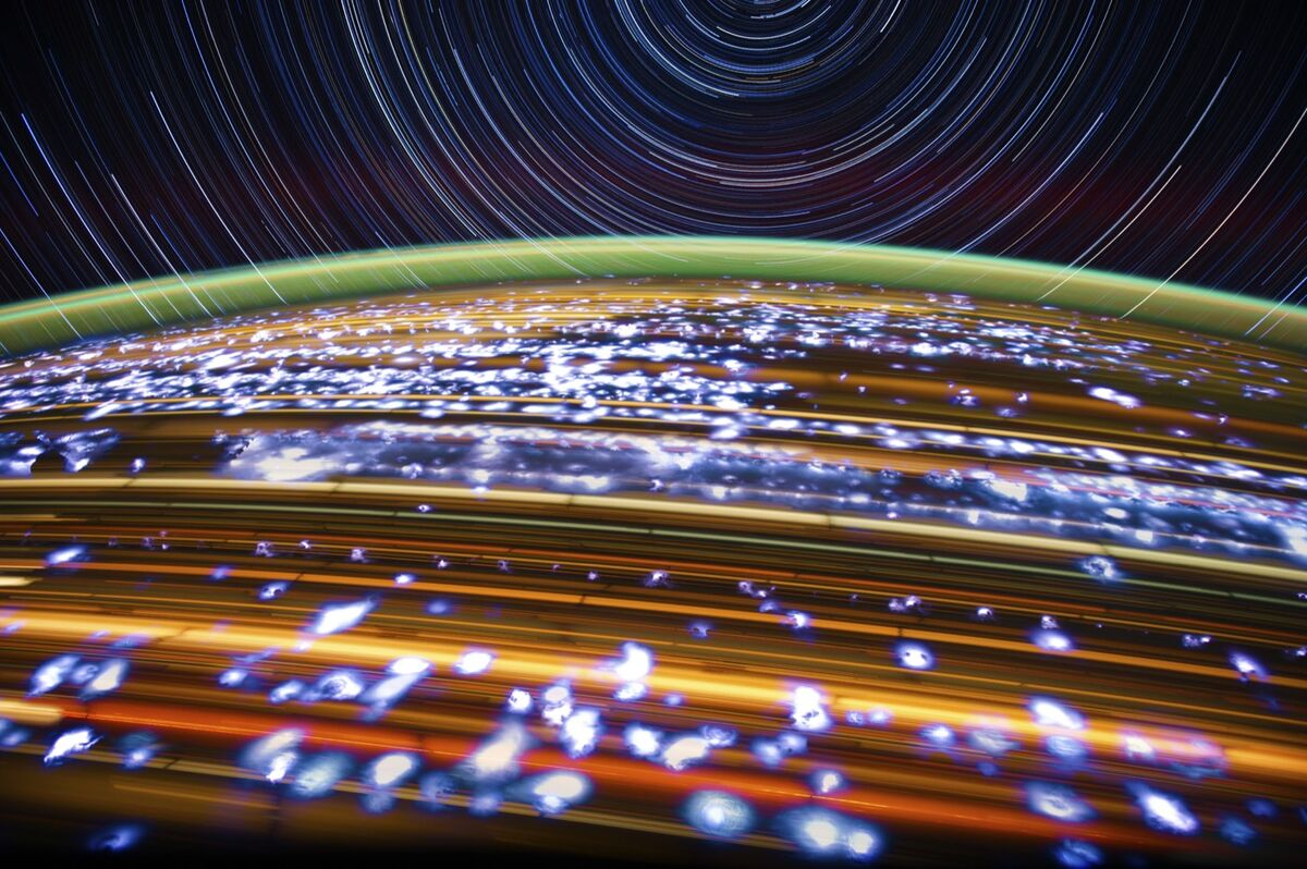 """A long-exposure image from Pettit's """"Star Trail"""" series. Courtesy of NASA/Don Pettit."""