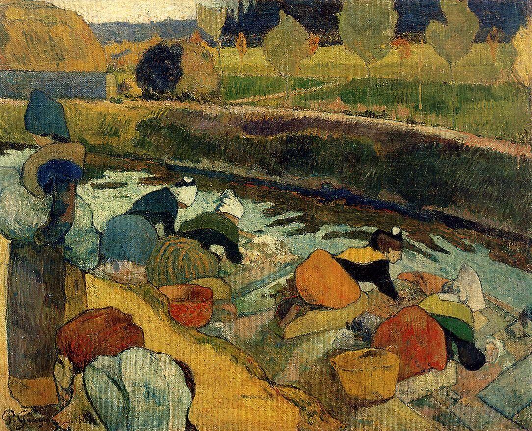 Paul Gauguin, Washerwomen at the Roubine du Roi Arles , 1888. Image via Wikimedia Commons.