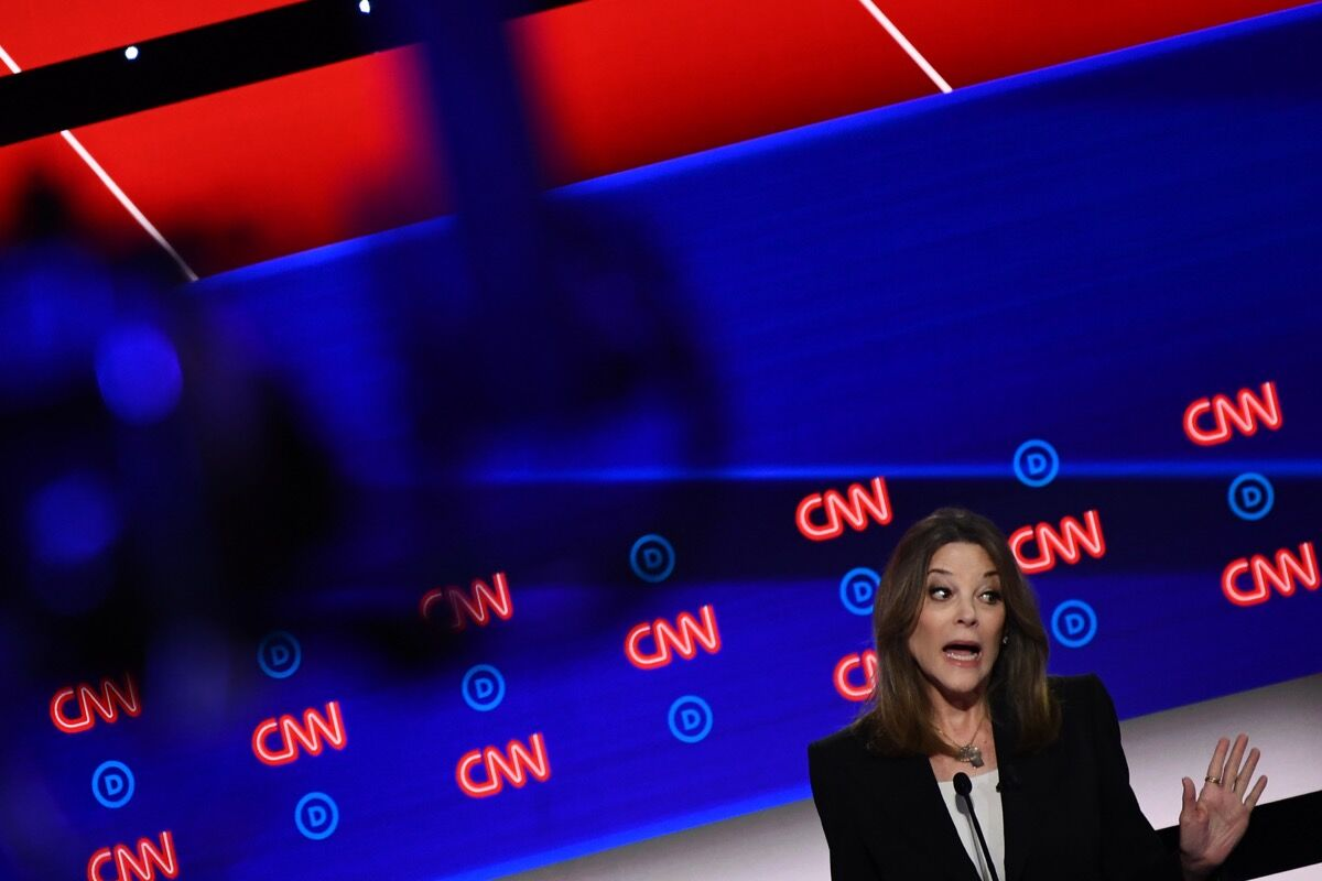 Marianne Williamson speaks during the first round of the second Democratic primary debate of the 2020 presidential at the Fox Theatre in Detroit, Michigan on July 30, 2019. Photo by BRENDAN SMIALOWSKI/AFP/Getty Images.