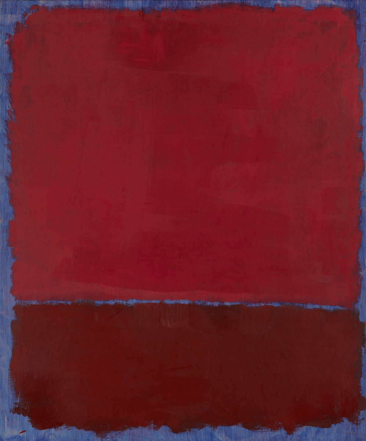 Mark Rothko, Untitled (Red and Burgundy Over Blue), 1969, oil on paper mounted on board. Est. $9 million–$12 million. Courtesy Sotheby's.