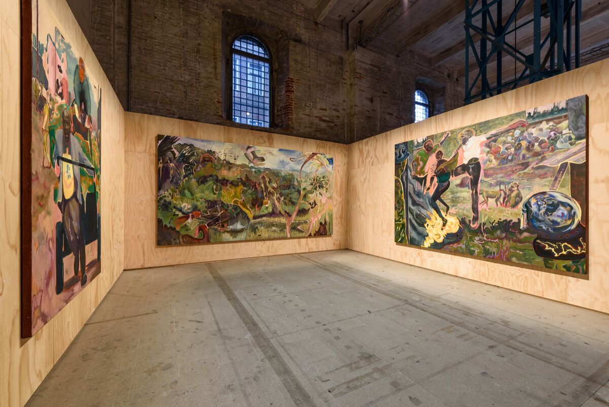 "Installation view of Michael Armitage at the 58th International Art Exhibition of La Biennale di Venezia, ""May You Live In Interesting Times,"" 2019. Photo by Andrea Avezzù. Courtesy of La Biennale di Venezia."