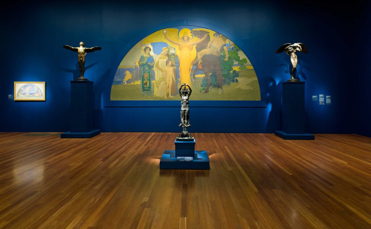 """Installation of """"Jewel City: Art from the Panama Pacific International Exposition"""" at the de Young Museum. Courtesy of the museum."""