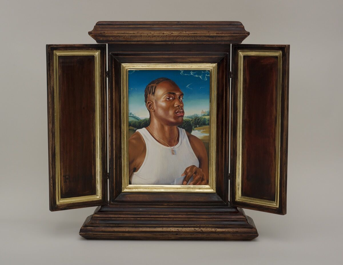 Kehinde Wiley, After Memling's Portrait of a Man with a Letter, 2013. © Kehinde Wiley. Courtesy of the artist; Roberts Projects, Los Angeles, California; and the Phoenix Art Museum.