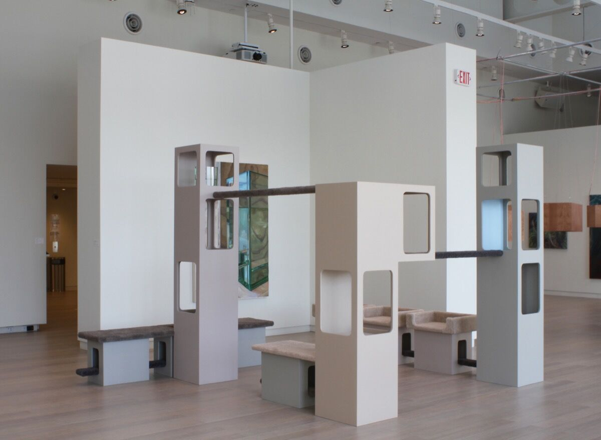 Installation view of work by Emily Ludwig Shaffer at Columbia MFA Thesis Exhibition, curated by Deborah Cullen-Morales, Lenfest Center, 2017. Courtesy of the artist.