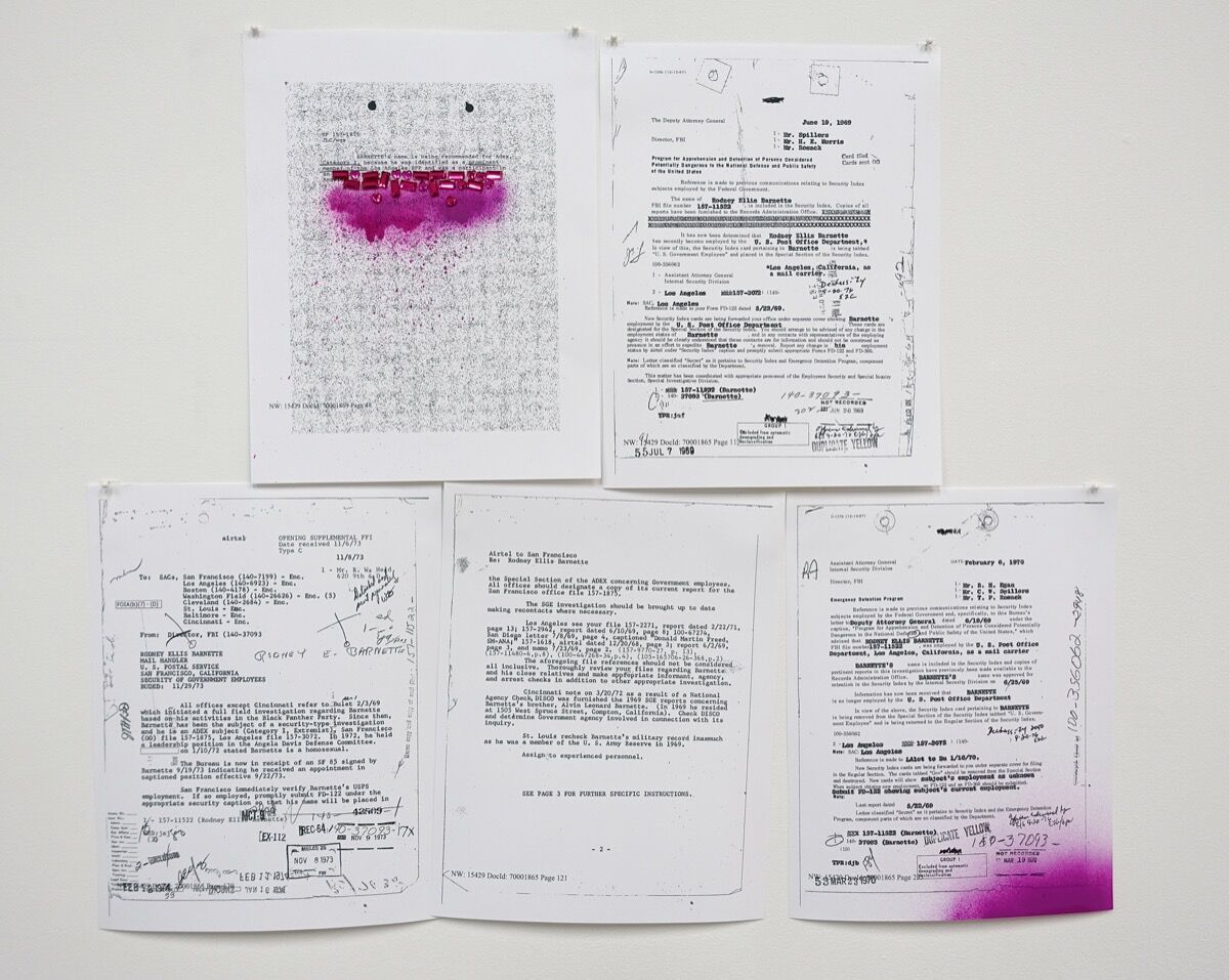 Installation view of Sadie Barnette,My Father's FBI File, Project II, 2017. Image courtesy of Baxter St.