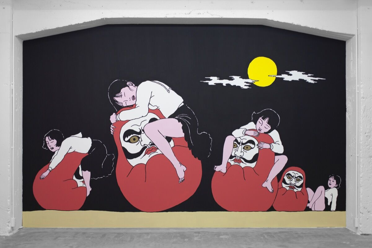 Installation view of Toshio Saeki, Ureshi Daruma, 2018. Photo by Genevieve Hanson. Courtesy of Jeffrey Deitch.