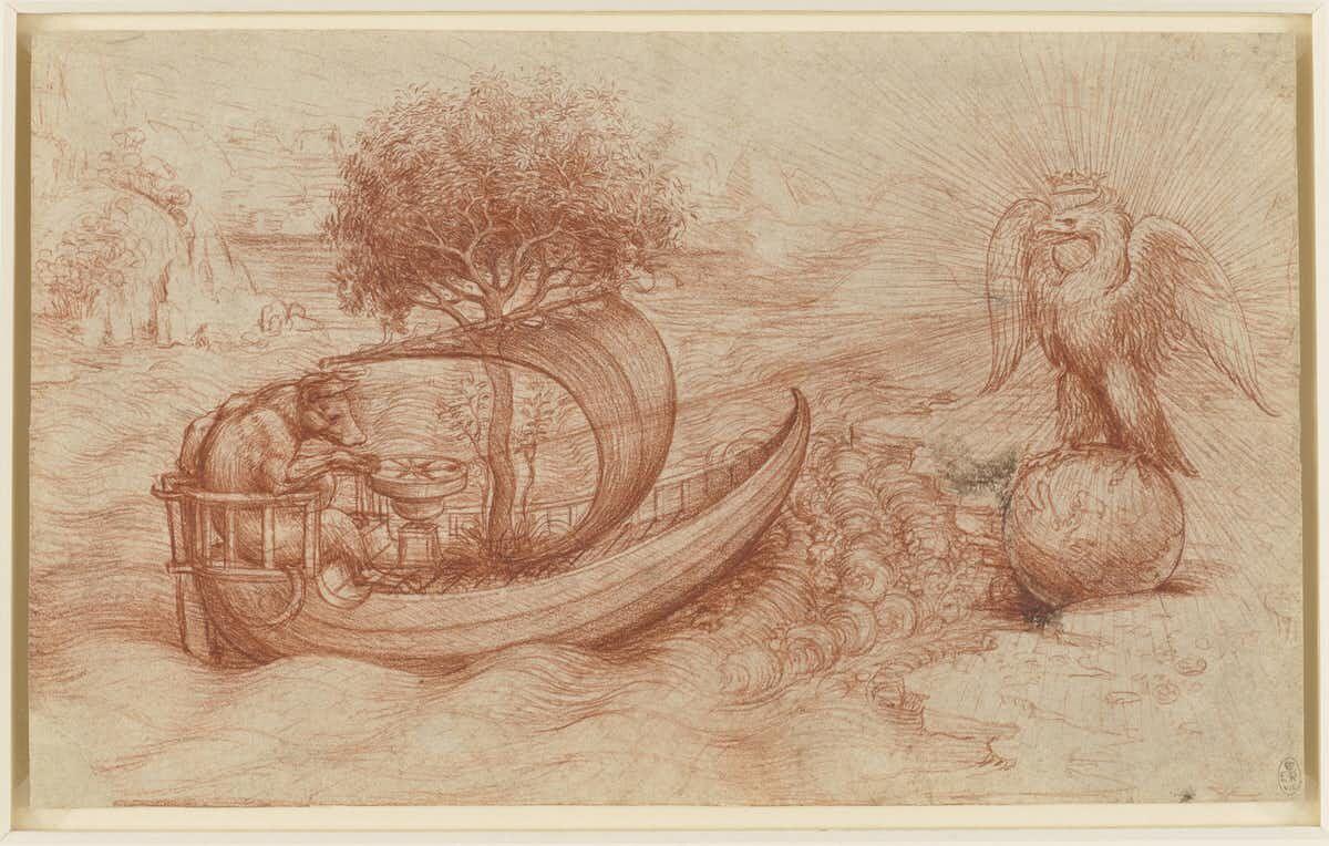 Leonardo da Vinci, Allegory of a Dog and an Eagle. Courtesy of the Royal Collection Trust.