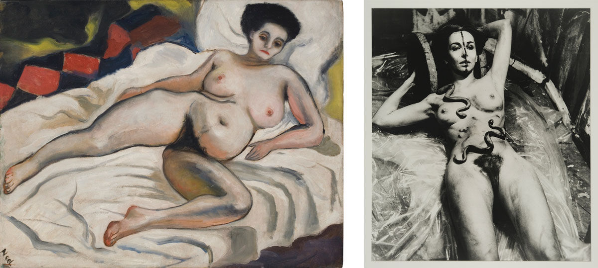 Left: Alice Neel, Nadya Nude. © Estate of Alice Neel. Right: Carolee Schneemann, Eye Body (From 36 Transformative Actions for Camera), 1963/1985. Photo: Erro. Courtesy of P.P.O.W. and Private Collection. Image courtesy of Maccarone.