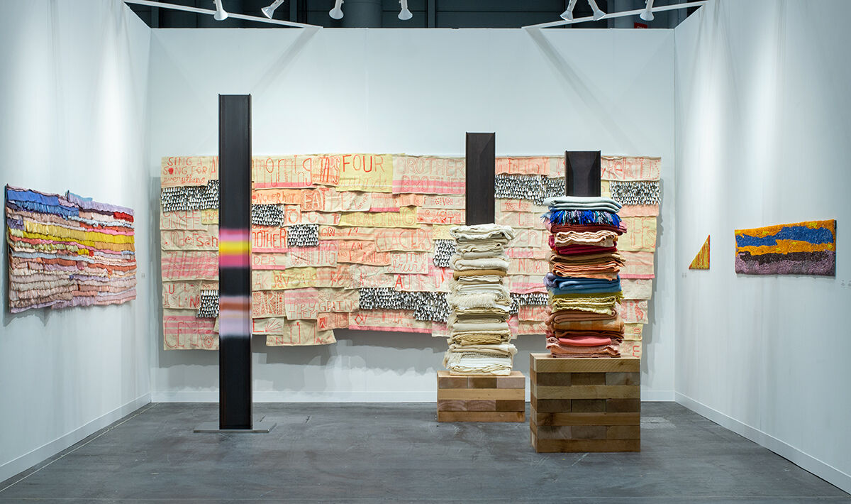 Marie Watt, installation view in Marc Straus's booth at The Armory Show, 2021. Courtesy of the artist and Marc Straus.
