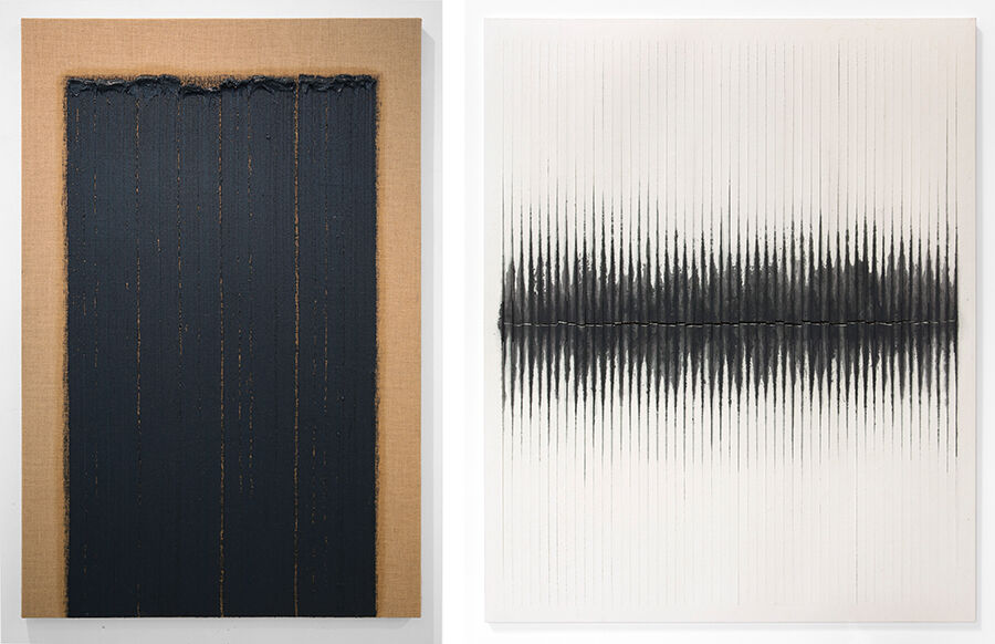 Left: Ha Chonghyun, Conjunction 14-116, 2014. Courtesy of the artist and Blum & Poe, Los Angeles/New York/Tokyo. Right: Kwon Young-woo, Untitled, 1984. Courtesy of the Estate of Kwon Young-woo and Blum & Poe, Los Angeles/New York/Tokyo.