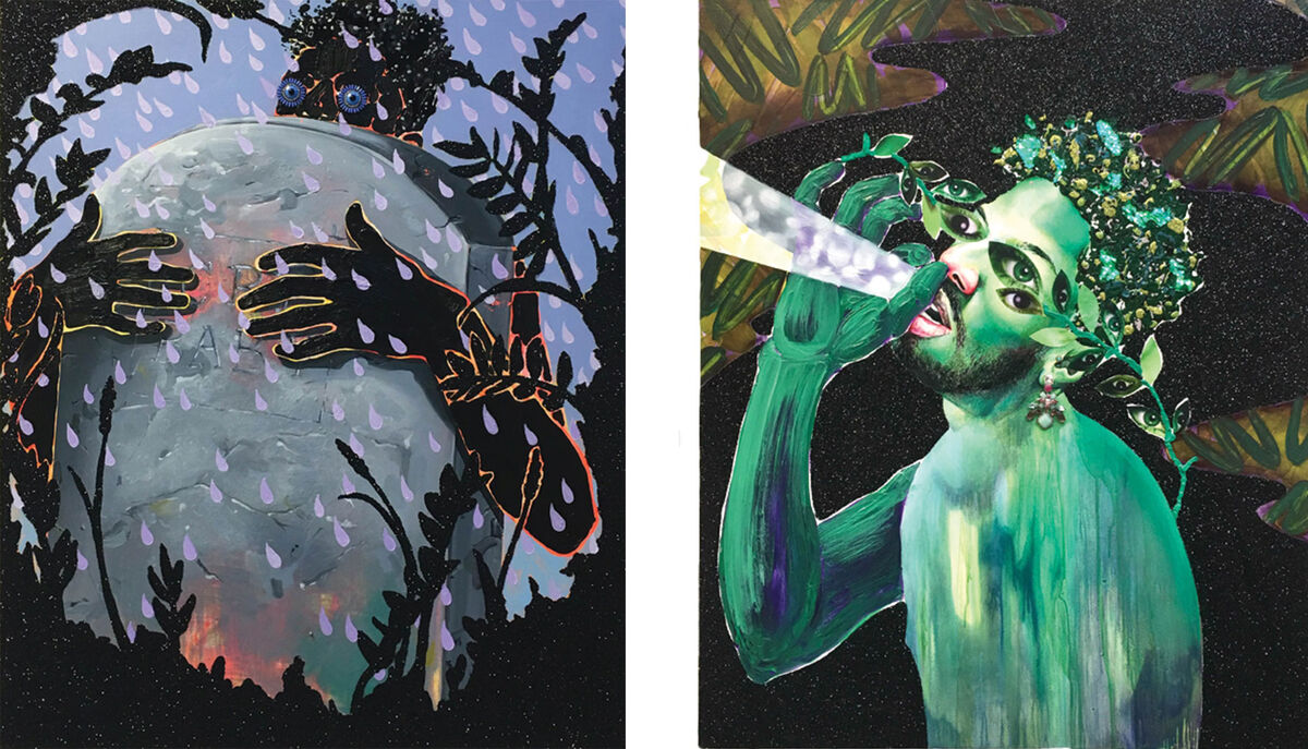 Left: Devan Shimoyama, CryBaby (2016); Right: Devan Shimoyama, Daphnes Prayer (2016). Images courtesy of Lesley Heller Workspace.