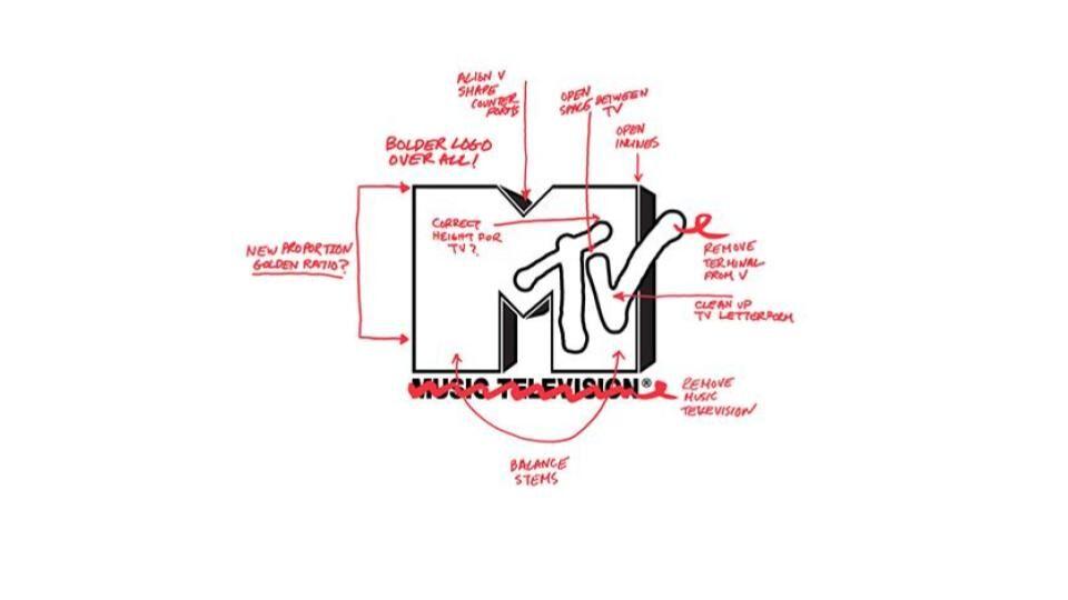 MTV logo redesign concept walk through, 2010. Courtesy of Jen Epstein/Pixel Party.