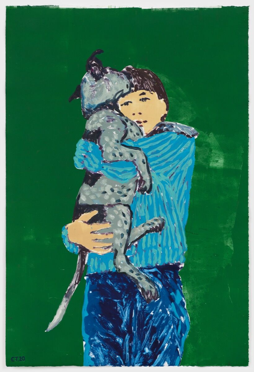 Claire Tabouret, Self-Portrait with George (Green), 2020. Photo by Marten Elder. Courtesy of the artist and Perrotin.
