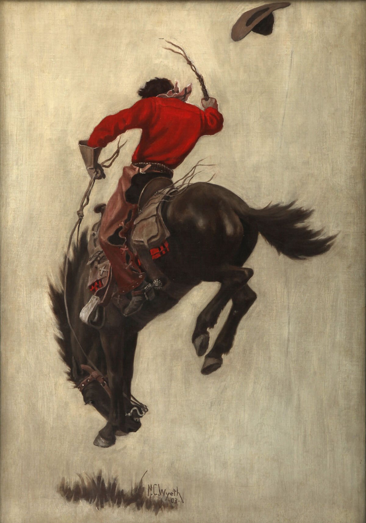 N. C. Wyeth, Saturday Evening Post, cover (Bucking Bronco), 1903. Courtesy of the Brandywine River Museum of Art.