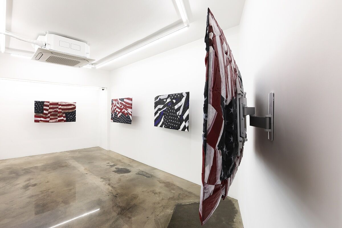 """Installation view of """"Josh Kline: Alternative Facts"""" at VSF Seoul, 2020. Courtesy of the artist and Various Small Fires, Los Angeles/Seoul."""