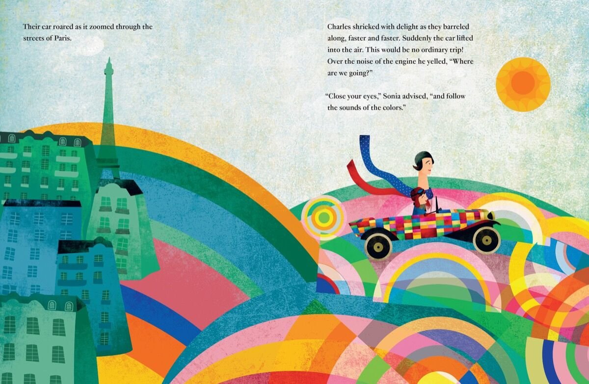 Illustration for Sonia Delaunay: A Life of Color. © 2017 Fatinha Ramos.