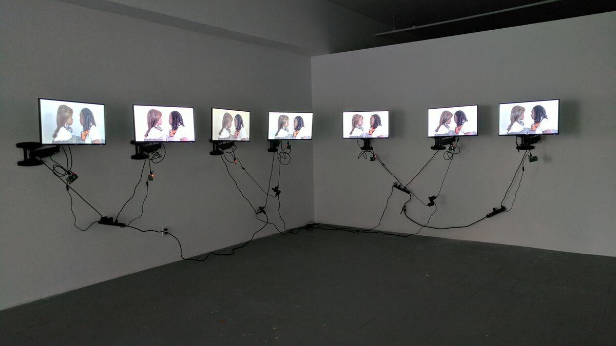 """Installation view of Stephanie Dinkins, """"Conversations with Bina48,"""" 2014-present, at Recess' Assembly Gallery, Brooklyn, 2017."""