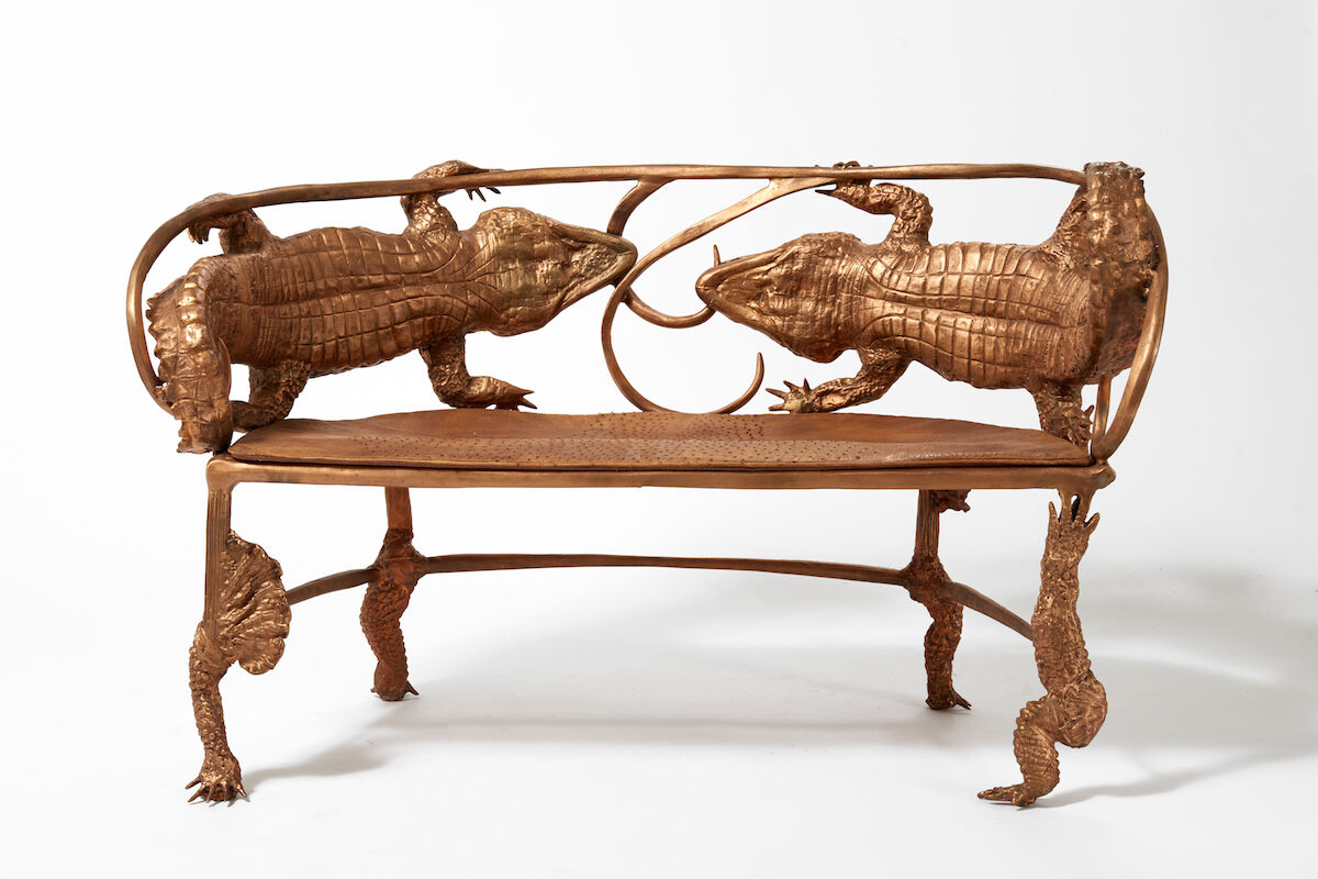 Claude Lalanne, Banquette Crocodile (B), 2006/2010, bronze and leather, edition of 8 + 4 AP. Courtesy of Ben Brown Fine Arts.