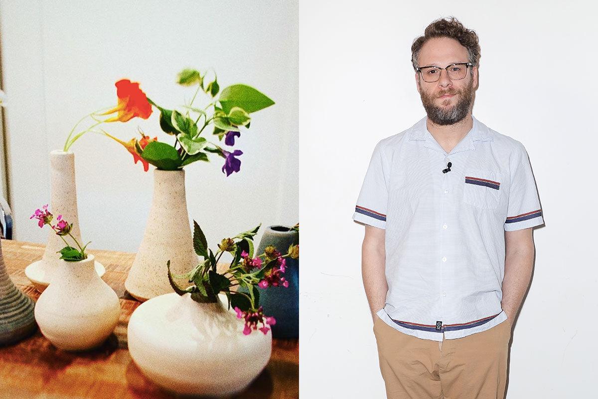 Left: Ceramics by Seth Rogen, via @sethrogen on Instagram. Right: Portrait of Seth Rogen by John Parra / Getty Images.