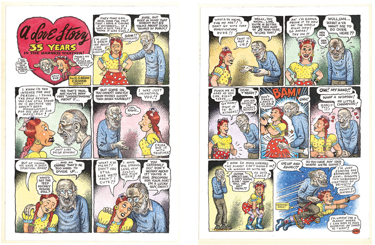Left: Aline Kominsky-Crumb and R. Crumb, A Love Story: 35 Years in the Harness Together!, page 1, 2007. Right:Aline Kominsky-Crumb and R. Crumb, A Love Story: 35 Years in the Harness Together!, page 2, 2007. Images courtesy of the artists.