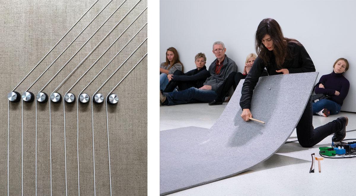"Left: Detail from ""Transition"", courtesy of Dvir Gallery. Right: Photo by Krisopher McKay, © Solomon R. Guggenheim Foundation, New York."
