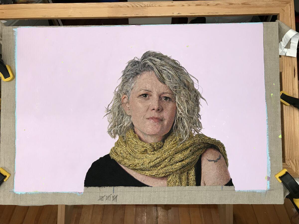 Progress shot of Cayce Zavaglia, Sandra, in the artist's studio, 2018. Courtesy of the artist.