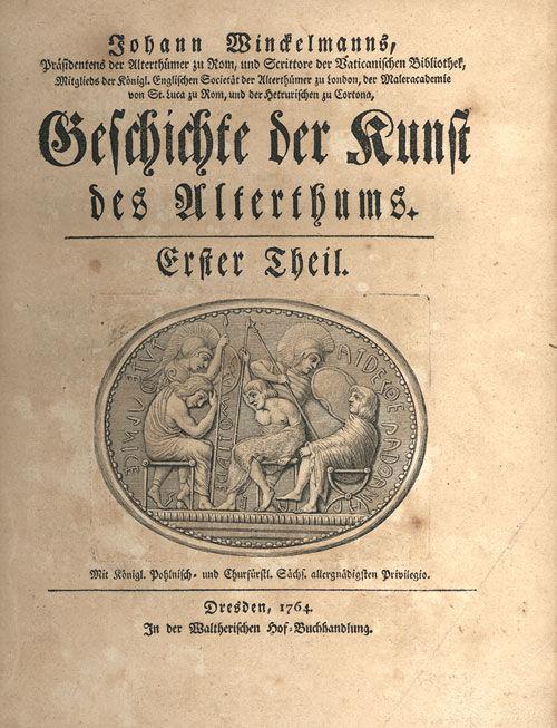 Johann Joachim Winckelmann, Cover of Geschichte der Kunst des Altertums, 1764. Photo via Wikimedia Commons.