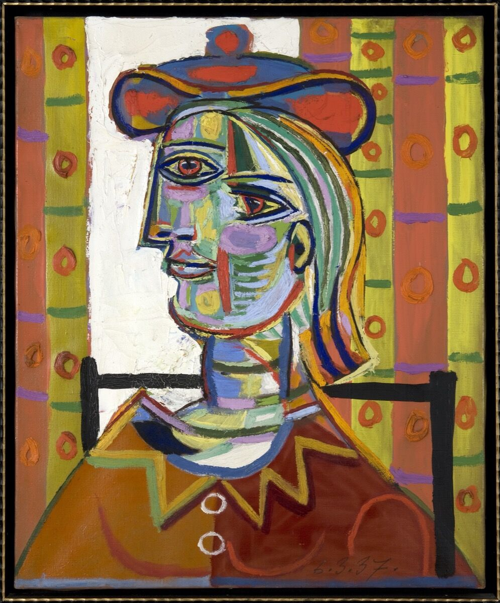 Pablo Picasso, Femme au beret et la collerette (Woman with Beret and Collar), 1937. © Estate of Pablo Picasso / Artists Rights Society (ARS), New York Courtesy the Donald B. Marron Family Collection, Acquavella Galleries, Gagosian, and Pace Gallery.