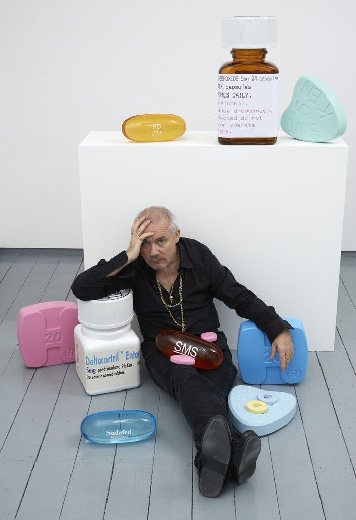 "Damien Hirst in his exhibition ""SCHIZOPHRENOGENESIS"" at Paul Stolper Gallery, London, 2014. Courtesy of Paul Stolper Gallery."