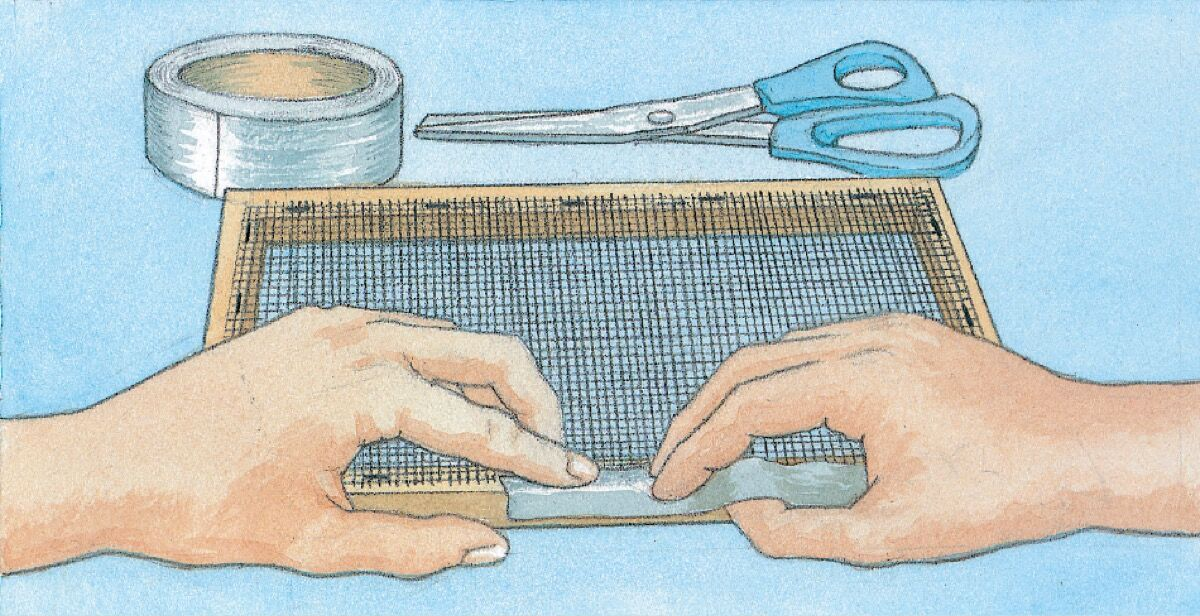 Making a mould and deckle. Illustration by Alison Kolesar from Papermaking with Garden Plants and Common Weeds by Helen Hiebert.
