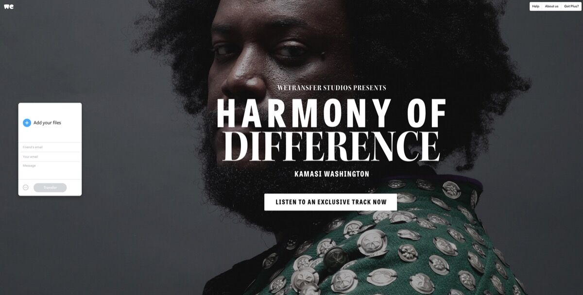 Kamasi Washington's WeTransfer project. Courtesy of WeTransfer.